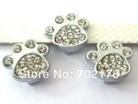 Wholesale Stud Dog Collars - wholesales price 100pcs paw 10mm Slide Charms zinc alloy and rhinestone Fit 10mm Pet Dog Cat Tag Collar Wristband free shipping