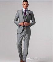 Wholesale Grey Men Slim Fit Suits - Wholesale - Wholesale - Slim Fit Groom Tuxedos Light Grey Two Buttons Notch Lapel Best man Groomsman Men Wedding Dinner Suits Bridegroom