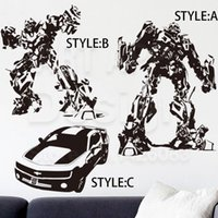 robot transformateur robot achat en gros de-Art Wall Sticker décoration de la maison vinyle Transformateurs Bumblebee Wall Sticker amovible PVC maison décoration autocollants de bande dessinée super Robot