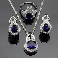 Wholesale South American Topaz Rings - New Style Blue Sapphire White Topaz Jewelry Sets Women Silver Necklace Pendant Earrings Rings Free Jewelry Box