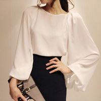 Wholesale Blusas Chiffon Black White - 2017 White Long Sleeve Chiffon Blouses kimono M L XL Women Blouse Black blusas feminina female office casual Workwear Tops Renda Shirts