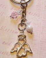 Wholesale Keys Filigree - Wholesale Fashion Vintage Silvers Filigree GUARDIAN ANGEL Charms Key Chain  Key Ring   Bag Jewelry Free Shipping 100PCS P997
