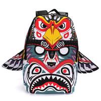 Wholesale Owls Style Bags - NEW 3D Owl Backpack Handwriting Wings Female Tribe Cartoon Sport Bags Unisex Men Women Mochila Canvas Rucksack Casual School Bag