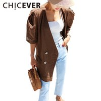 Wholesale Summer Trench Coat Women - Wholesale- CHICEVER 2017 Summer Half Sleeve Vintage Sunscreen Coat Female Women's Windbreaker Long Trench Coats For Women Basic Casual