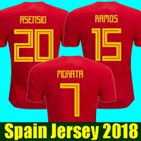 a5e7fcec5bb Thailand camisetas de futbol ASENSIO MORATA Spain soccer jerseys world cup  2018 RAMOS SILVA INIESTA football shirt Camisa maillot de foot