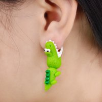 Handmade Polymer Clay Crocodile Stud para mulheres brincos de animais Fine Jewelry Green Color Fashion Dinosaur Stud Earrings