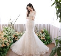 best crystals mermaid wedding dress  - long sleeves mermaid lace wedding dresses 2018 full embroideried bateau neckline lace-up back sweep train wedding gowns
