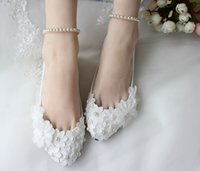 Wholesale Satin Shoe Pearl Ankle Strap - White Lace Wedding Shoes 2017 Pearls 3D-Applique Flats Bridal Shoes Flatforms Prom Party Shoes with Pearls Anklets