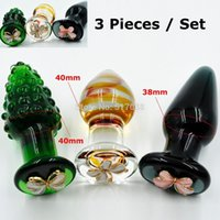 Wholesale Crystal Butt Plug Set - w1031 Butterfly Ornament crystal Pyrex Glass anal butt plug bead Adult male female masturbation products Sex toys set for women men