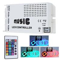 ingrosso music ir controller 24v-2016 vendita calda ha condotto l'illuminazione a led strip light Music Sound Sensitive IR Controller per RGB LED Lights Strip 12V 6A