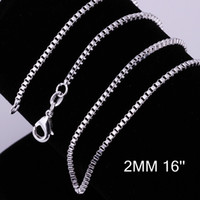 Wholesale Silver Box Chain 2mm - Fashion 925 Sterling Silver Chains Necklace 2mm Box Chain Necklace 16inch 18inch 20inch 22inch 24inch Necklace Jewelry