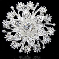 Wholesale China Wholesale Girl Dresses - Hot Selling Pretty Flower Diamante Silver Brooch Wedding Bridal Bouquet Fashion Jewelry Accessories B909 Girls Dress Pins For Party