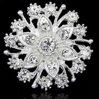 vestidos de niña bonita flor de plata al por mayor-Venta caliente Bonita Flor Diamante Broche de Plata Boda Nupcial Ramo Accesorios de Joyería de Moda B909 Niñas Vestido Pasadores Para la fiesta