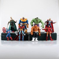 8pcs / set Anime Superheroes The Avengers Captain America Thor Iron Man The Thing action Figurines PVC Toy Model 12CM