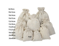 Wholesale wrapping paper gift bags - 50pcs lot 8*10cm 10*12 10x14cm 10*15 12*16cm 13*18 15*20cm 17*23cm 20*30 30*40cm Cotton Drawstring Gift Bag Jewelry Pouches