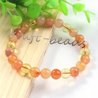 Wholesale Carnelian Bracelets - Wholesale 10Pcs Charm natural carnelian + Scottish topaz Crystal Stone Round Shape Beads Stone Bracelets Jewelry Gift 8mm