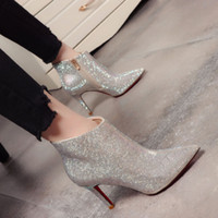 Wholesale bridal shoes for winter wedding resale online - Rhinestone Wedding Shoes For Women Luxury High Heels Top Quality Ankle Length Bridal Shoe Winter Wear