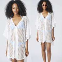 Wholesale Wholesale White Bikinis - Bulk New Hot Womens Lace Bikini Coverups Blouse for Beach White Batwing-sleeved Hollow Out Casual Boho Vacation Beachwear Dress 838 50pcs