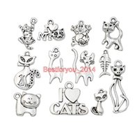 Wholesale Tibetan Charms Cats - Mixed Tibetan Silver Plated Cat Charms Pendants For Jewelry Making Bracelet Craft DIY Findings Accessories Handmade