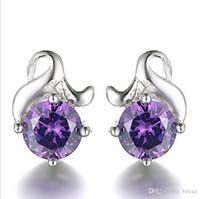 ingrosso orecchini coreani del polsino-Orecchini femminili di alta qualità femminile coreano temperamento zircone fiore orecchini gioielli in argento orecchio gioielli modelli esplosione all'ingrosso