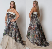 Wholesale Casablanca Silk Wedding Dresses - Vintage Plus Size Wedding Dresses 2015 Strapless Camo Forest Wedding Gowns Stylish New Fashion Sweep Train Camo Print Bridal Dresses