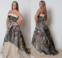 Wholesale Stylish Bridal Dresses - Vintage Plus Size Wedding Dresses 2015 Strapless Camo Forest Wedding Gowns Stylish New Fashion Sweep Train Camo Print Bridal Dresses