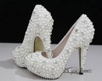 Wholesale Hot Sexy Heels Cheap - Hot Sale White Wedding Shoes 2017 Luxurious Crystals and Pearls High Heels Fashion Design Cheap Ivory Bridal Shoes Sexy Evening Party Shoes
