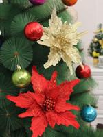 Wholesale Steam Hang - 6pcs 24cm Celosia cristata Flower steam Sequin Pendant Suspension ornament For Christmas Party Tree Venun Hanging Decoration