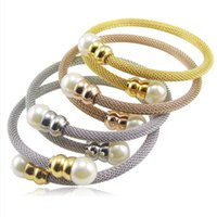 Wholesale Silver Costume Jewelry Sets - Wide open gold cuff bracelet pearl jewelry bracelets bangle pulseiras de ouro for women Luxury brand united nations costumes