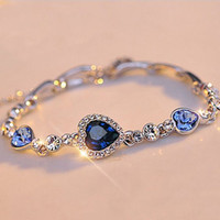 Wholesale Stylish Fashion Bracelet - Wholesale-Stylish Women Girls New Fashion Ocean Blue Sliver Plated Crystal Heart Charm Bracelet Bangle Gift Jewelry