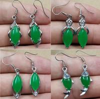 Wholesale bridal earings resale online - Tibet Silver Green Jade Malay jade pendant Dangle Girl Boy Chandelier Silver Earings Bridal Jewelry for wedding dress