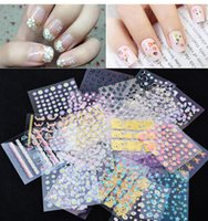 Wholesale Floral Nail Art Designs - 2016 New 50 Sheet 3D Mix Color Floral Design Nail Art Stickers Decals Manicure Beautiful Fashion Accessories Decoration Free Shipping