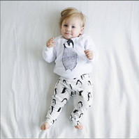 Wholesale Penguin Suits - Baby lovely INS cartoon penguin Suits 2016 new children Long sleeve T-shirt +trousers 2 pcs Suit cartoon pajamas Suits B001
