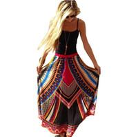Wholesale Boho Dress Large - Summer Boho Ethnic Floral Printed Skirts Elegant Lady Loose Oversize Maxi Dresses For Women Large Swing Skirts