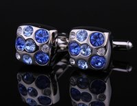 Wholesale Blue Danube - Luxury Square Blue Danube Crystal Cufflinks Wedding Presents and Gifts cf151809