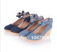 Wholesale Free Slope - Wholesale-Free shipping!The new spring and summer flowers slope with the wind and spend Institute detachable bow heels retro fashion
