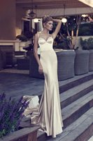 Wholesale Types Modern Dress Sleeves - Euro Type Backless Long Prom Dresses Mermaid Style Fashion Spaghetti Champagne Party Dresses 2015 With Chapel Train Beaded Sequins