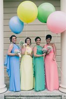 Wholesale Cheap Custom Made Bridemaids Dress - One Shoulder Long Chiffon Plus Size Bridemaids Dresses 2015 A Line Ruched Chiffon Dresses Summer Beach Simple Cheap Maid Of Honor Under $120