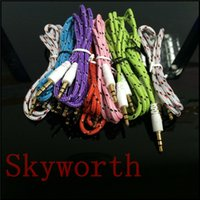 Wholesale Cable Iphone Mini Jack - 3.5mm Stereo Audio AUX Cable Braided Woven Fabric wire Auxiliary Cords Jack Male to Male M  M Audio Cable for iPhone 6
