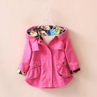 casacos para meninas venda por atacado-5 cores Crianças Jaqueta Meninas Roupas Casacos de Inverno Cardigan Prubcess para Crianças Roupas 2015 Outono Algodão Trench Coat Outerwear