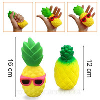 Wholesale Squishies Free Shipping - Pineapple Squishy Sunglasses Decompression Jumbo Scented Simulation Squishies Decoration Kids Toy Glasses Squeeze Gift Free Shipping SQU012