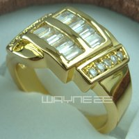 Wholesale Solid 18k Wedding Rings - 18k gold GF Engagement wedding With Lab diamand ladies solid rings R159 Size6.5-8