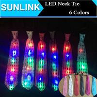 Wholesale Sequin Neck Ties - New Fashion Light Up LED Luminous Sequin Neck Ties Changeable Colors Necktie Led Fiber Tie Flashing Tie For Male Female Vestidos