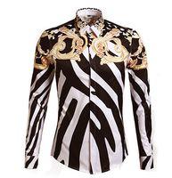 Wholesale Slim Fit Designer Shirts Men - 2016 Designer Shirts Men Zebra Print Luxury Casual Slim Fit Stylish Dress Shirts Long-sleeved Mens Shirts Cotton Fashion Clothing M-3XL