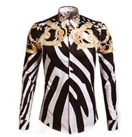 2016 Designer Shirts Men Zebra Print Luxury Casual Slim Fit Stylish Dress Shirts Long-sleeved Mens Shirts Cotton Fashion Clothing M-3XL