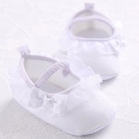 Wholesale Baby Ballet Shoes White - Wholesale-2015 New Sweet Light Big Bow Newborn Baby Girls Prewalker Shoes Princess Mary Jane Ballet Dress Anti-slip Soft Solid Shoes