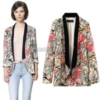 2014 giacche nuova annata Casual donne Lady manica lunga Suit Outwear Floral Blazer Kimono Coat Plus Size B11 SV005042