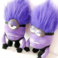 Wholesale Minions Plush Dolls - New hot sale 2pcs set American plush stuffed doll toy Despicable Me purple Devil Minions doll 30CM toys gift for children