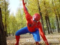 Wholesale Mascot Clothes - 2017 hot new Spiderman Costume Red Black Spider Man Suit Spider-man Costumes Adults Children Kids Spider-Man Mascot Clothing