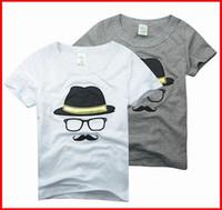 Wholesale Moustache Shirts - 5PCS Summer New Boys Cartoon Beard Moustache Tshirt Tops boys Embroider Beard And Skull Short Sleeve Tees Kid's Boy Girl T Shirt for 2-7Year